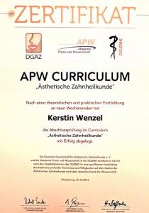 Zertifikat APW-Curriculum - Aesthetische Zahnheilkunde