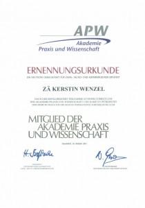 Zertifikat Ernennungsurkunde Akademie Praxis und Wirtschaft