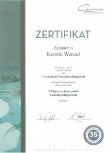 Zertifikat Funktionsdiagnostik Zahnarzt